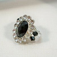 Black and Rhinestone Stretch Ring, Cocktail Ring