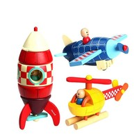 Wooden Plane Helicopter Rocket Puzzle Educational Toys For Children