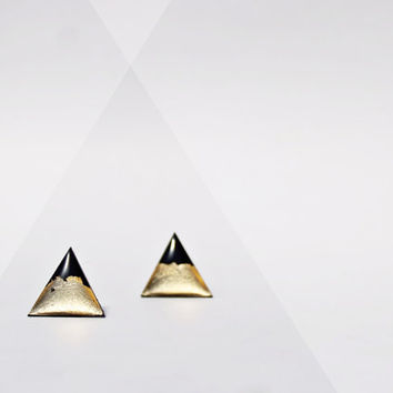 upcycled record stud earrings gold studs triangle studs trending jewelry minimalist post earrings gold earrings geometric jewelry for her