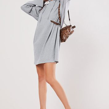 Missguided Ribbed Hoodie Dress