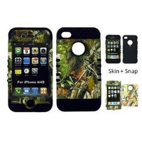 BUMPER CASE FOR IPHONE 4 SOFT BLACK SKIN HARD FOREST CAMO GREEN LEAVES COVER