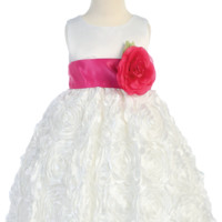 White Satin Ribbon Flowers on a Blossom Flower Girl Bubble Dress (Girls 6 months - Size 12)