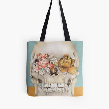 'Vanitas Skull Drawing' Tote Bag by anon-artist