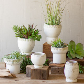 Set of 6 Clay Planters - White