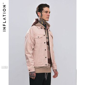 INFLATION 2018 A/F Collection Men Washed Denim Jacket Man Slim Fit Streetwear HipHop Vintage Jacket Brand Clothing 8755W