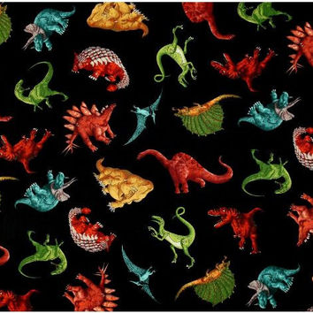 Dinosaurs on Black 9424 Cotton fabric from Timeless Treasures Fabric by the yard
