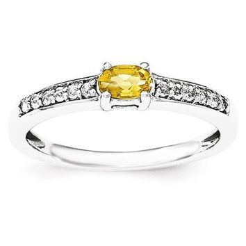 Sterling Silver Horizontal Oval Citrine And White Topaz Ring