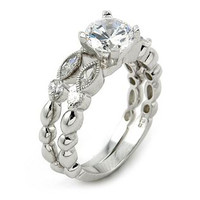 Carrie's Fantasy Sterling Silver CZ Wedding Ring Set