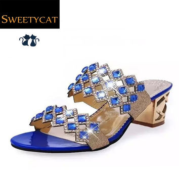 Fashion women sandals  high heel sandals female slippers rhinestone cutout women's summer summer sandals shoes woman L35-807