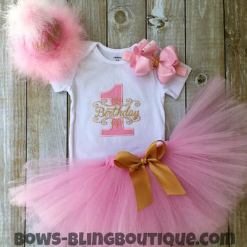 First Birthday Pink and Gold Tutu Outfit