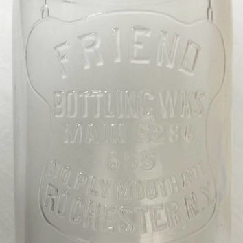 Vintage Friend Bottling Works 30 oz Clear Embossed Soda Pop Bottle, Rochester NY