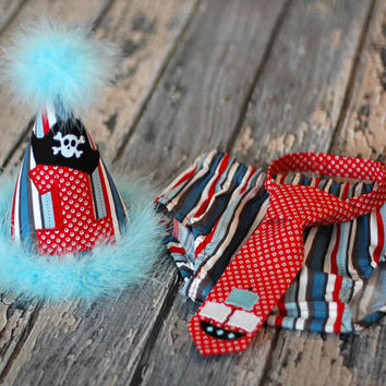 Boys Birthday Party Hat, Diaper Cover and Tie - First Birthday, Smash Cake, Photo Prop - Pirate Red Aqua Blue
