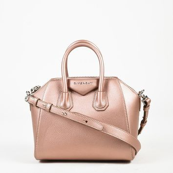"Givenchy Pink Leather ""Mini Antigona"" Satchel Bag"