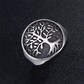 New Antique Silver Gold Color Tree of Life Finger Ring For Men's Women Totem Metal Band Punk Biker Gothic Amulet Wedding Jewelry