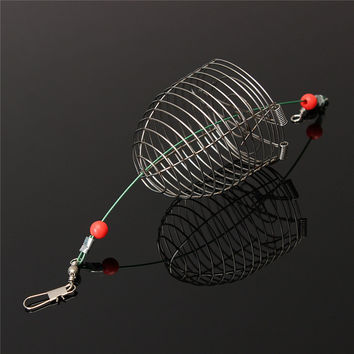 New Small Bait Cage Fishing Trap Basket Feeder Holder Stainless Steel Wire Fishing Lure Cage Fishing Tackle Accessory tool