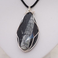 Fossil Pendant, Fossil Wire Wrapped Pendant, Fossil Jewellery, Tear Drop Pendant, UK Seller