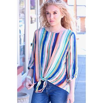 Miley 3/4 Sleeve Striped Tie Blouse {Peach/Navy}
