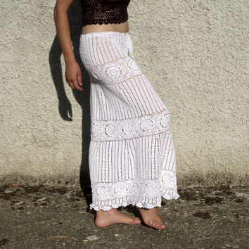 MADE TO ORDER  Hand Crocheted Skirt Lace Floral Motifs Boho Rustic Country western