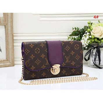 LV Louis Vuitton New Fashion Monogram Print Leather Chain Shopping Leisure Shoulder Bag Women 4#