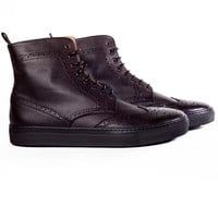 ZINC - Men's dark brown textured leather brogue lace up sneaker boots