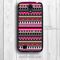 Galaxy s4 Case Aztec Pattern Tribal Print Shocking Pink Galaxy s4 Rubber Case Black White Back Cover --000078
