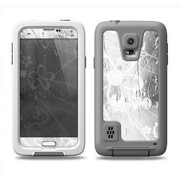 The Watered Floral Glass Samsung Galaxy S5 LifeProof Fre Case Skin Set