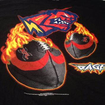BRAND NEW RETRO ORLANDO RAGE BLACK XFL SHORT SLEEVE TEE SHIRT SHIPPING