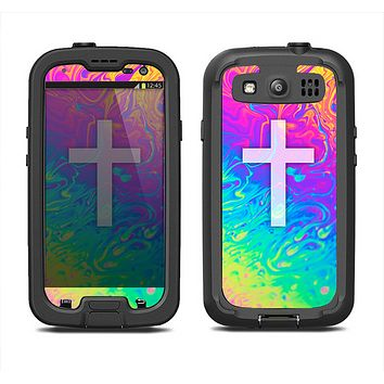 The Vector White Cross v2 over Neon Color Fushion V2 Samsung Galaxy S3 LifeProof Fre Case Skin Set