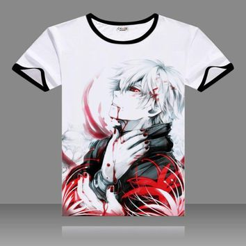 2017 T-shirts Tokyo Ghoul Cosplay Black O-Neck Short Sleeve Kaneki Ken Costume Uta Print Shirts Touka Kirishima Tops Summer Tees