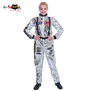 Carnival Spaceman Halloween Costume for Women Astronaut Anime Cosplay Costume Adult Stage Fancy Dress Female Pilot Jumpsuit 2018
