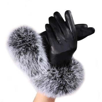woman fashion  Lady Black PU Leather Gloves Autumn Winter Warm Rabbit Fur female gloves Guanti invernali donna Y10