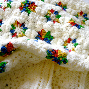 Rainbow Granny Square Baby Blanket- Crocheted Afghan- Boy Girl- Worsted Weight- Ready To Ship