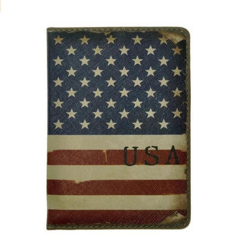 American Flag Passport Cover Case Holder