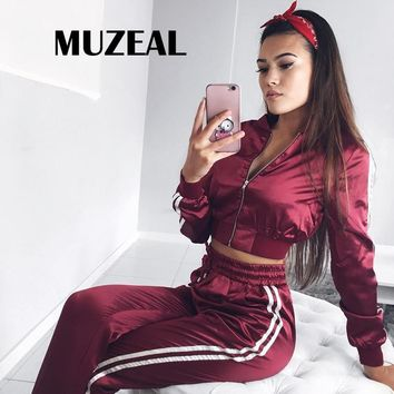 MUZEAL Autumn Woman Crop Top 2 Pieces Set Stripe Long Sleeve Bandage Zipper Bodycon Sexy Young Lady Casual 2 Pieces Suits 558