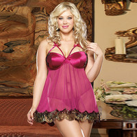 Hot Deal Cute On Sale Sexy Sleepwear With Steel Wire Spaghetti Strap Dress Summer Exotic Lingerie [6596490755]