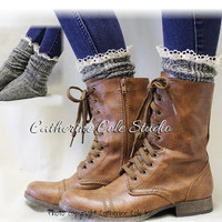 MISS TORI in Olive Tweed, lace boot socks boot socks,combat boot socks womens boot socks cowboy boot socks Catherine Cole Studio SLX204L