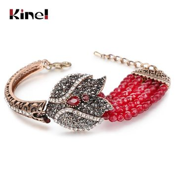Kinel Charm Red Natural Stone Bracelets Bangles Fashion Gold Covered Gray Crystal Antique Bracelet For Women Turkish Jewelry