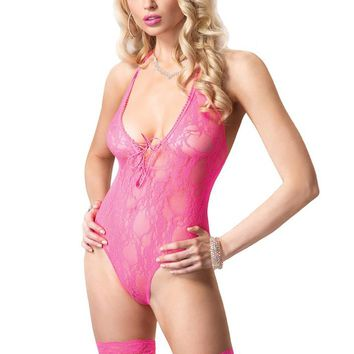 Leg Avenue Female 2PC.Floral Lace Deep-V Lace Up Teddy And Stocking 81321