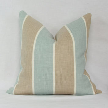 "Light blue & tan cabana stripe decorative throw pillow. 18"" x 18"" toss pillow. 18"" square accent pillow. P. Kaufmann Artissimo Robin's Egg."