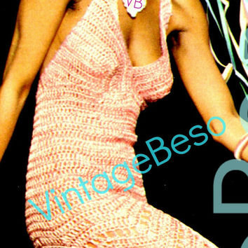 INSTANT DOWNlOAD - PdF Pattern - 1970s Dress Crochet PATTERN Prom Halter Dress Sexy Party Dress Feminine Ladies Summer Wear Evening Dress
