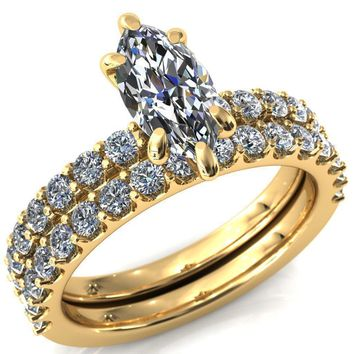 Mylene Marquise Moissanite 6 Prong Sculptural Half Eternity Diamond Engagement Ring