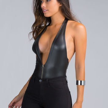 So Slick Plunging Halter Bodysuit