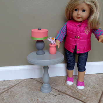 Round Side Table With Lamp and Flowers for American Girl Doll and18-inch Dolls