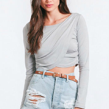 Gray Long Sleeve Unique Crossed Ruffle Sheathed Crop Top