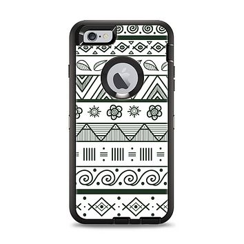 The Black & White Floral Aztec Pattern Apple iPhone 6 Plus Otterbox Defender Case Skin Set
