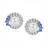 Shell Pearl W. Blue Baguette and Clear Round Cubic Zirconia Stud Earrings