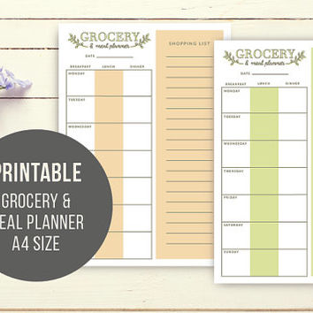 Printable grocery and meal planner- shopping list