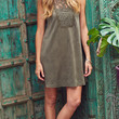 Pretty Persuasion Crochet Accent Faux Suede Shift Dress