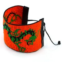 Bold Orange Dragon Adjustable Wrap Bracelet
