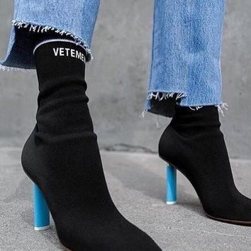 2016 vetement boots Lighter-Heel Stretch fabric Women Boots Sock Jersey Ankle Boots bl